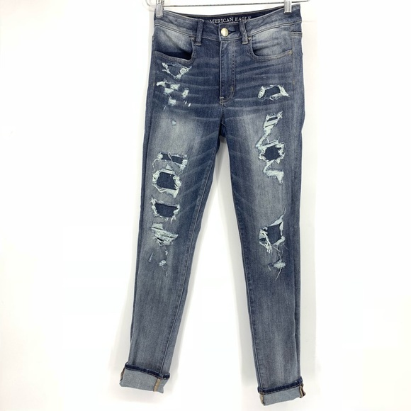 American Eagle Outfitters Denim - American Eagle Hi Rise Jegging Distressed Jeans